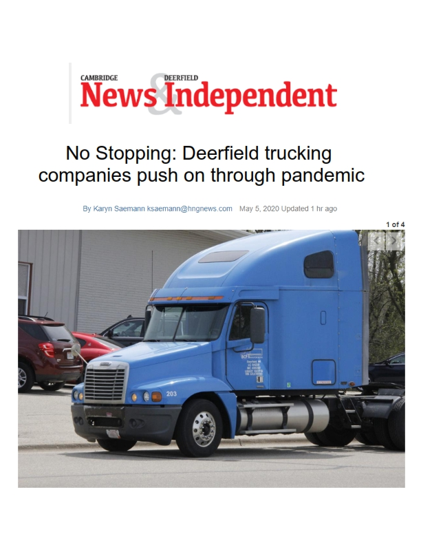 No Stopping: Deerfield trucking companies push on through pandemic