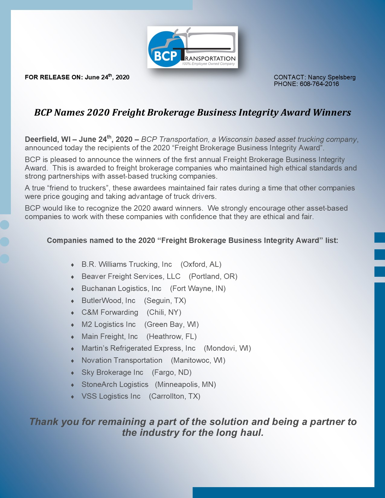 BCP Names 2020 Freight Brokerage Business Integrity Award Winners